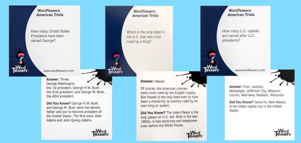 American Trivia - 6 card template