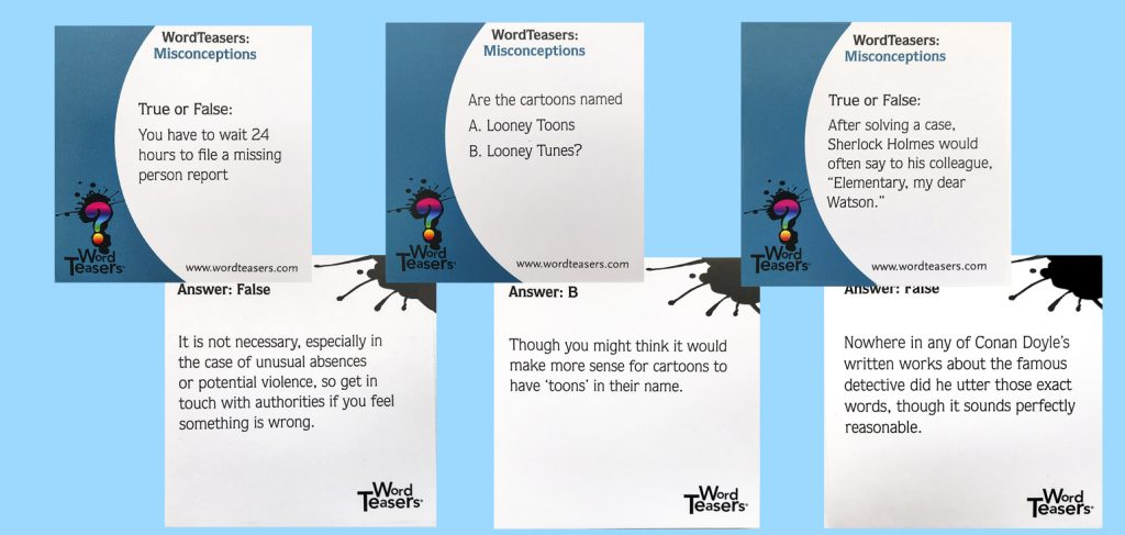 Misconceptions 6 card template